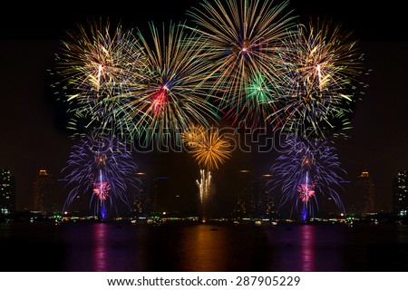 Beautiful firework display for celebration on the river  #287905229