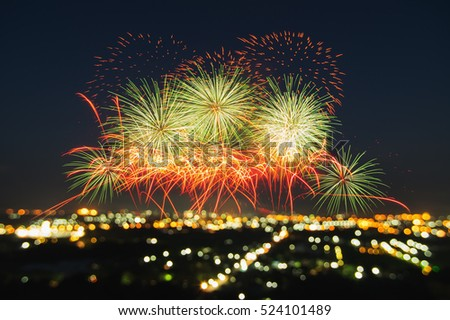 Beautiful firework display for celebration with blur bokeh light #524101489