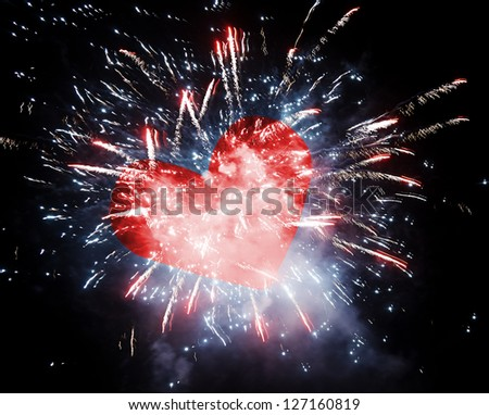 Beautiful firework with red heart.  Love concept - stock photo
