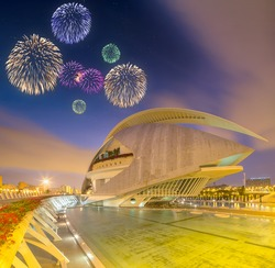 Beautiful fireworks above modern european architecture and museum, Valencia Spain