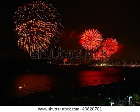 beautiful fireworks celebrating new year on the beach