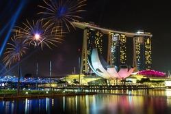 Beautiful fireworks in Marina Bay in Singapore