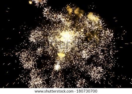 beautiful fireworks over night sky