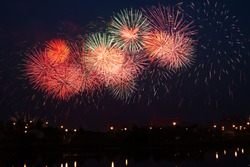 Beautiful fireworks over the river.