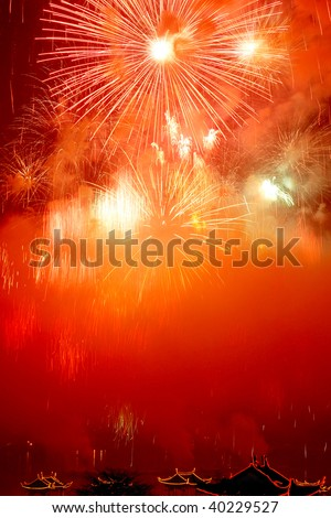 beautiful fireworks with red sky