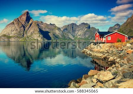 beautiful fishing village on...