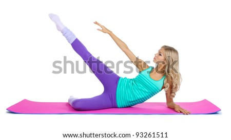 Beautiful fitness girl isolated on white - stock photo
