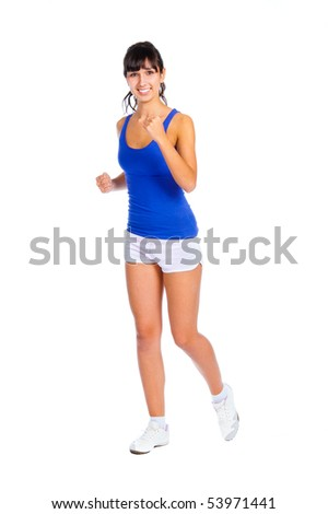 Beautiful fitness trainer running isolated over white background