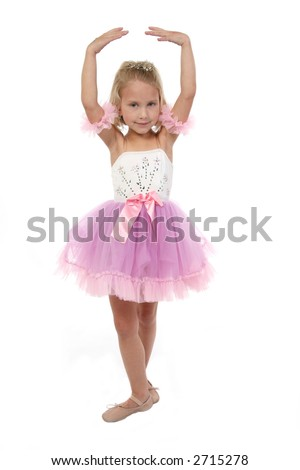 Beautiful five year old girl dressed as ballerina. Full body over white.