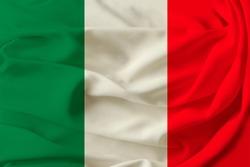 beautiful flag of Italy on pleated fabric