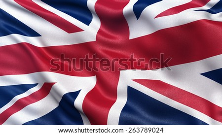 Beautiful flag of the United Kingdom waving in the wind #263789024