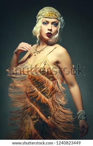 beautiful flapper woman dancing roaring 1920s #1240823449