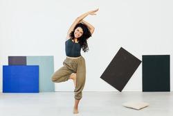 Beautiful flexible woman yoga asana gymnastics flexibility body fitness