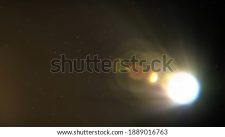 Beautiful floating dust particles in the air. Dark background. Diagonal light rays or beams. Lens flare effect, blur or bokeh. Abstract cinematic background. High quality 3D Render illustration Foto stock ©