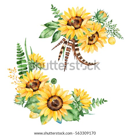 Beautiful floral collection with sunflowers,leaves,branches,fern leaves,feathers.2 lbright watercolor bouquets for your design.Perfect for wedding,invitation,template card,Birthday and boho style