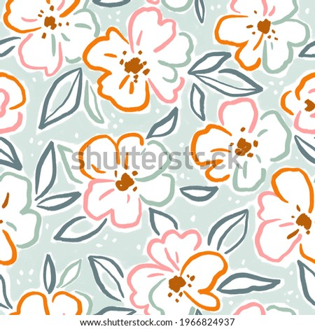 Beautiful floral female seamless pattern design in hand-drawn style. Gouache painting fabric design. Flowers and leaves in neutral colors.