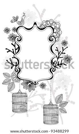Beautiful floral illustration with cage over white