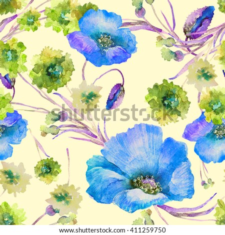 Beautiful floral seamless pattern, watercolor summer flowers bouquet poppies and cornflowers