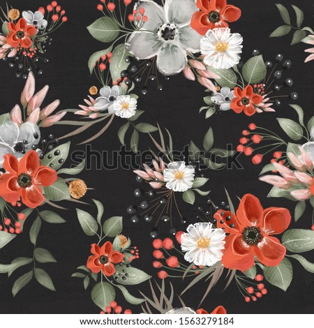 Beautiful floral seamless, tileable, watercolor pattern on black background