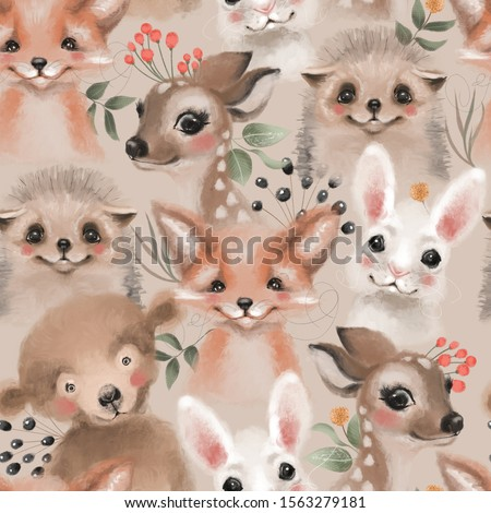Beautiful floral seamless, tileable, watercolor pattern with woodland animals - deer, bunny, hedgehog, bear and fox