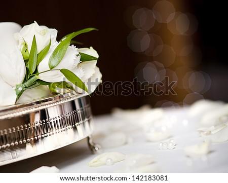 Beautiful floral wedding table decoration at wedding reception