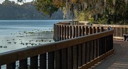 Beautiful Florida wooden boardwalk near a body of water