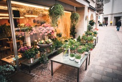 Beautiful Flower Bouquet and Decoration Plants Flowers Shop for Sell and Decorative Service. Business Floral Design and Plant Shops for Home Gardening in Old Town of Schaffhausen City, Switzerland.