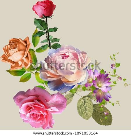 beautiful flower bunch digital art work ストックフォト ©