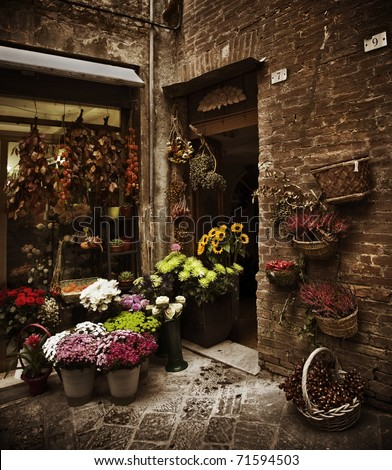 Beautiful flower shop in a small Tuscan town, Italy