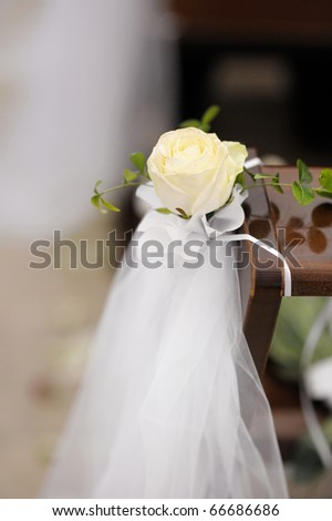 stock photo Beautiful flower wedding decoration in a church