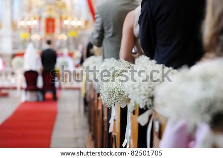 stock photo Beautiful flower wedding decoration in a church