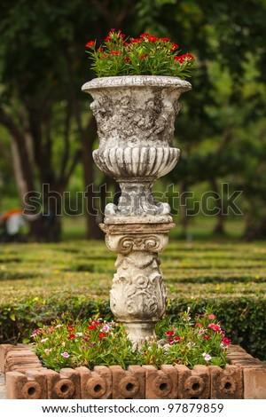 Beautiful flowerpot in park