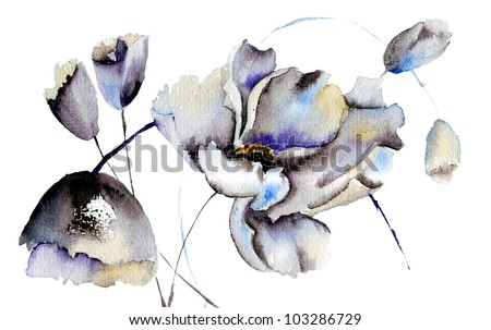 Beautiful flowers, watercolor illustration