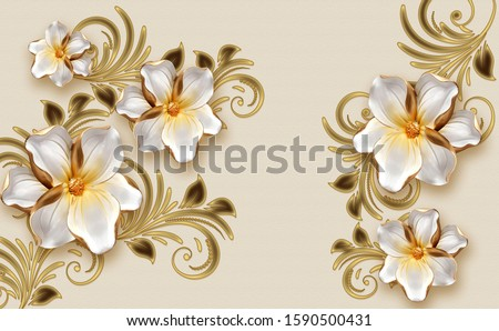 Beautiful Flowers White With Gold And Decorative Swirl Floral Elements illustration 3rd