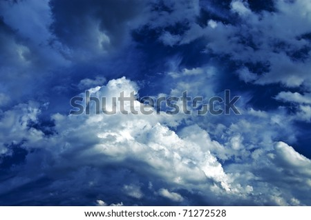 beautiful fluffy clouds in the sky