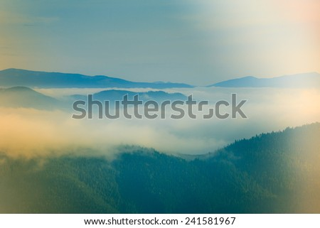 Beautiful foggy landscape in the mountains.  Filtered image:cross processed lighting leak - instagram.