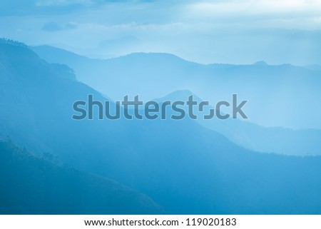 Beautiful foggy landscape in the mountains, Western Ghats, India