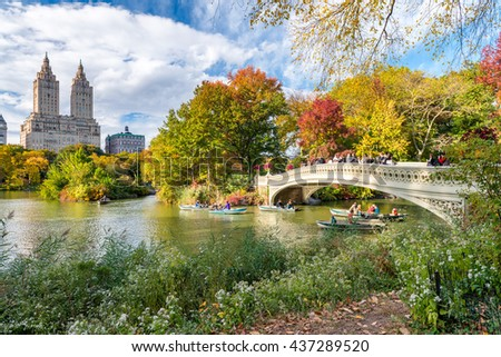 Beautiful foliage colors of New York Central Park. - Shutterstock ID 437289520