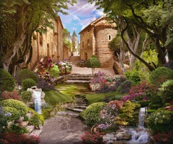 Beautiful forest with flowers, waterfalls and access to the old street. Digital collage , mural and fresco. Wallpaper. Poster design. Modular panno.