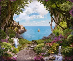 Beautiful forest with flowers, waterfalls and access to the sea.  Digital collage, mural and mural. Wallpaper. Poster design. Modular panel. 3d render