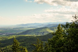 Beautiful forested mountain ranges of the Vosges Mountains in the East of France.