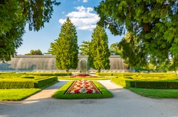 Beautiful formal garden near the Lednice castle, Czech Republic.