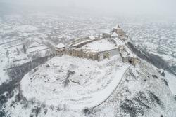 Beautiful fortress of Sumeg, Hungary at winter