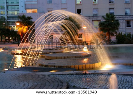 beautiful fountain at night