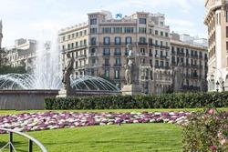 Beautiful fountain at Plaza Catalunya or Catalonia Square in Barcelona