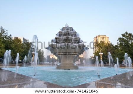 Beautiful fountain in front of Heydar Aliyev Palace in Baku
