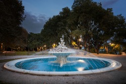 Beautiful fountain in sea garden in Varna, the sea capital of Bulgaria
