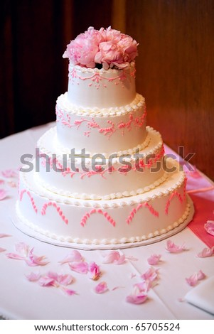Wedding Cake With Pink