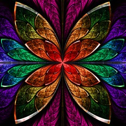 Beautiful fractal flower in blue, green and red. Computer generated graphics.