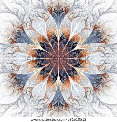 Beautiful fractal flower in gray, brown and blue. Computer generated graphics.